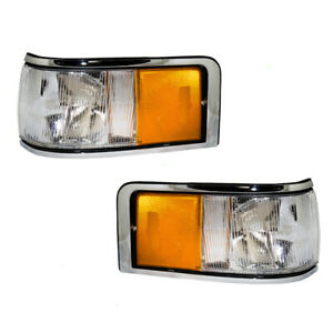 Pair Set Signal Side Marker Lights Lamps Housing for 1990-1994 Lincoln Town Car