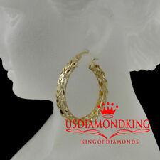 WOMENS LADIES 10K YELLOW GOLD TURKISH DIAMOND CUT HOOP EARRINGS 1.3 INCH 5.2Grms