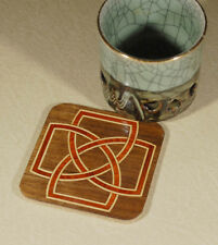 """""""Celtic Knot"""" Natural Wood Marquetry Coffee Coaster 3-1/2"""" (C-30)"""
