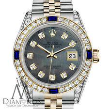 Women's Rolex 31mm Datejust Watch Black MOP Dial Sapphire & Diamond Bezel