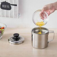 Stainless Steel Oil Strainer Pot Grease Container Storages Can With Filters
