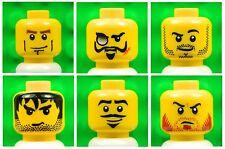 Lego Male Yellow HEADS [x6] for minifigures boy man beard mustache # NEW # 6p7