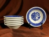 "6 Buffalo China Blue Willow Restaurant Ware Small (4 1/4"") Sauce Dipping Bowls"