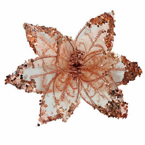 Christmas Glitter Poinsettia Decoration 20cm with Clip - Rose Gold