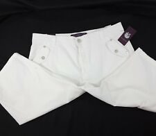 NEW Gloria Vanderbilt Women's Jean Bermuda Shorts 6 10 12 White Katniss Zip Fly