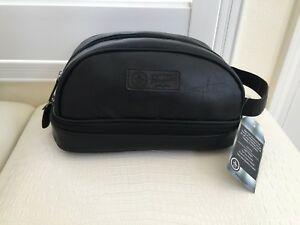 "Penguin Men Black Faux Leather Travel Toiletry Bag Clutch 10""x6"" Medium Sz New"