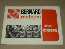 Prospectus Moteur BERNARD Motopompes 1975  Motor Tracteur traktor brochure