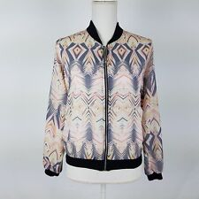 One & Only Urban Outfitters Bomber Jacket Abstract Lightweight Multi-color Small
