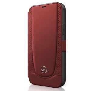 Handyhülle Apple iPhone 12 Mini Mercedes Bookcover Bookcase Echtleder rot