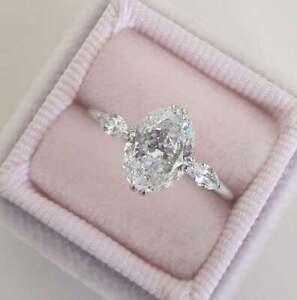 Solid 14K White Gold 2.5 Grams Lab Grown Diamond Engagement Wedding Ring Sz 5