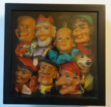 Vintage Hand Puppets in Shadow Box - Unique Art for Home or Business