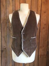 vtg LEVIS corduroy FUR LINED trucker WAISTCOAT vest MEDIUM 38 chest WHITE TAB