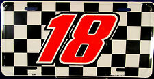 NASCAR  license plate #18 Racing team on checkered flag new auto tag metal 0088