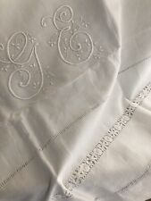 Antique LONG French PURE LINEN TROUSSEAU sheet OPENWORKS GE mono c1900
