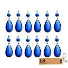 10PCS Blue Tear Drop Crystal Prisms Lighting Pendant Parts Glass Lamp Chandelier