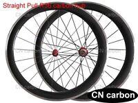 Straight pull carbon hub 50mm Clincher carbon bike wheels Alloy brake surface
