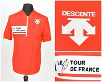 Mens Descente Tour De France Vintage 80s / 90s Cycling Jersey Red Size L