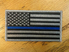 AMERICAN FLAG POLICE THIN BLUE LINE EMBROIDERED PATCH