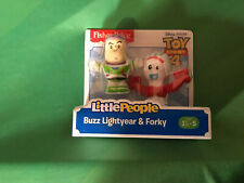 FISHER PRICE TOY STORY 4 LITTLE PEOPLE BUZZ LIGHTYEAR & FORKY FIGURE SET NIP NEW
