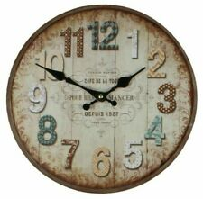 """DISTRESSED VINTAGE STYLE ROUND WALL CLOCK """"CAFE DE LA TOUR"""" FRENCH STYLE"""