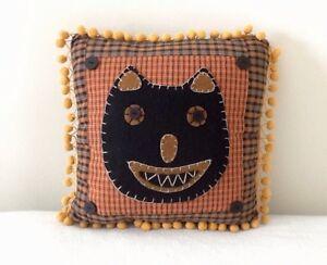 Delton Black Cat Pillow Felt Plaid Fringe Trim with Original Tag Halloween