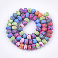 50 FIMO POLYMER CLAY RONDELLE FLOWER BEADS - APPROX 8MM