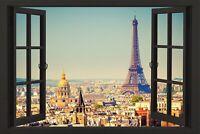 Paris Window Poster View Eiffel Tower France