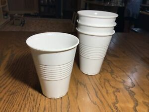 "Set of 4 Reusable Melamine White ""Plastic"" Party Cups, 14 Oz, 2008"