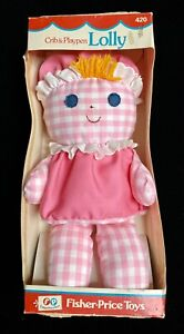 Vintage 1975 FISHER PRICE LOLLY RATTLE DOLL Crib Pink Gingham #420 in Box