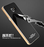 Metal Aluminum Bumper + Tempered Glass Cover Case For Samsung Galaxy Note 3 4 5