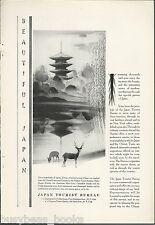 1930 JAPAN TOURISM advertisement, pagoda scene, promoting travel to Japan