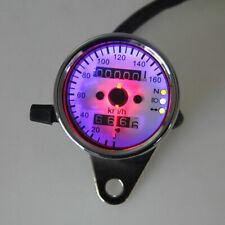 Chrome Universal Motorcycle Dual Odometer Speedometer Gauge Meter LED Backlight