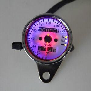 Chrome Universal Motorcycle Dual Odometer Speedometer Gauge Meter LED Backlight