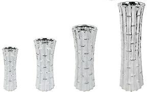 Stylish Vase BAMBOO Silver Art Flower Textured Home Decoration Leonardo