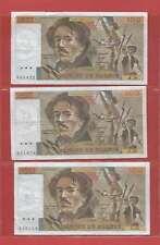 Lot de 3 x 100 FRANCS EUGENE  DELACROIX de 1982  ALPHABETS  N.56  U.56  Y.56