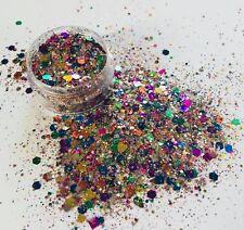 RAINBOW MULTI COLOUR chunky bling FESTIVAL FACE BODY NAIL ART glitter mix 10g
