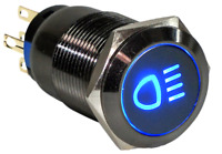 19mm Marine Grade Black Stainless Steel Button BLUE LED Car FOG Light Switch US
