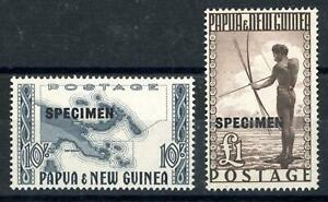 Papua New Guinea 1952 10s & £1 Optd 'SPECIMEN' MNH SG 14s/15s Cat £75
