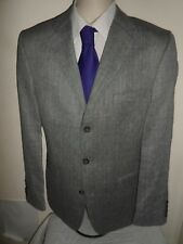 "40R Mens BODEN Suit Jacket Blazer Grey Herringbone Wool & Linen SIZE 40"" REG"