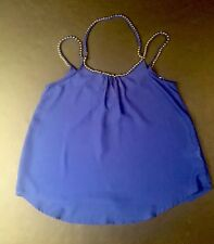 Women's Blue Beaded Strap Blouse By Love Letter - Size Large