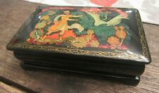 Rare Vintage Russian Painted Lacquer Box Rectangle Man & Swan