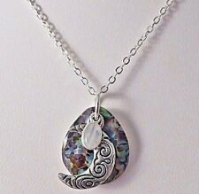 Crescent Moon with Paua Shell and Moonstone Charm Necklace. Pagan, Wiccan