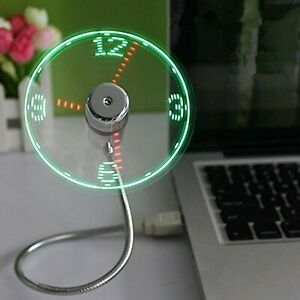 ONXE USB LED Clock Fan with Real Time Display Function,USB Clock Fans,Sil... New