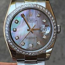 Rolex 36mm Datejust Steel 116200 18k Bezel Mother of Pearl Custom Diamond Dial