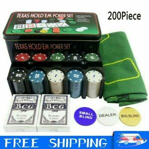 Professional 200 Piece Texas Holdem Poker Casino Game Chips Cards Set With Box