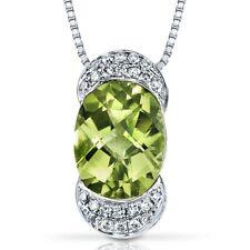 """14 Kt White Gold 2 cts Peridot and Diamond Pendant, 18"""""""