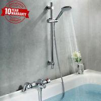 Chrome Thermostatic Bathroom Bath Shower Mixer Tap With Slider Shower Rail Kit