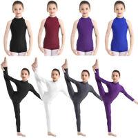 Kids Girls Full Body Suit Leotards Gymnastics Ballet Dance Wear Catsuit Costume