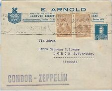 ARGENTINA -  POSTAL HISTORY: AIRMAIL COVER to GERMANY 1923 ----  CONDOR Zeppelin