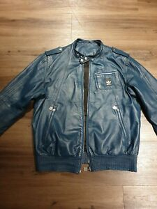 Adidas Vespa Rare Leather Jacket Blue Navy Size L Riders  like motorcycle
